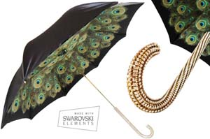 Pasotti Peacock & Black Umbrella With Swarovski Decorated Handle.