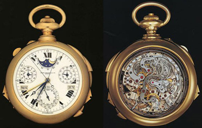 Patek Philippe Henry Graves Super Complication Pocket Watch sold for US$24 million at Sotheby's in Geneva on November 11, 2014, setting a new record price for any timepiece sold at auction.