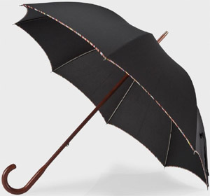 Paul Smith Signature Stripe Trim Black Walking Umbrella: €185.