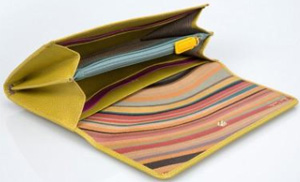 Paul Smith Yellow Large Tri-Fold Leather Purse: US$435.
