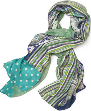Paul Stuart Silk/Model Paisley and Stripe Pattern Scarf: US$268.