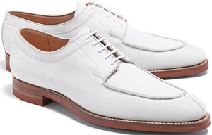 Peal & Co. White Algonquin Nubucks Shoes: US$548.