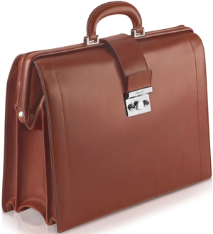 Pineider Power Elegance Brown Leather Diplomatic Briefcase: US$3,810.