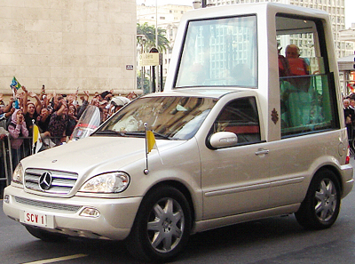 Pope Benedict XVI in a modified Mercedes-Benz M-Class popemobile in São Paulo, Brazil in May 2007.