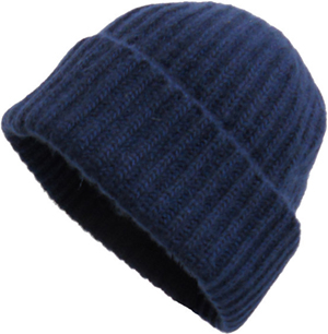 Portolano Men's 100% cashmere ribbed hat with folded cuff: US$55.