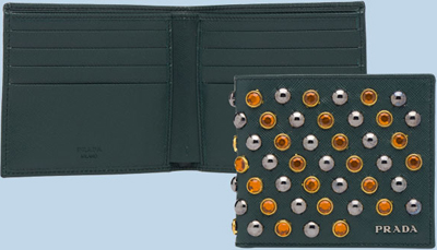 Prada Studded Saffiano Calf Leather Wallet with Decorative Stones: £260.