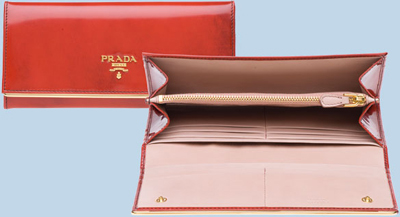 Prada Metallic Brushed Calf Leather Rectangular Flap Wallet: US$515.