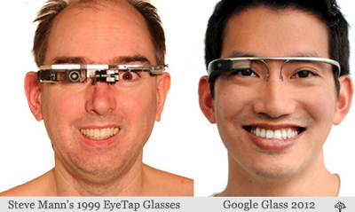 Steve Mann's 1999 Eye Tap Glasses & Google Glass 2012.