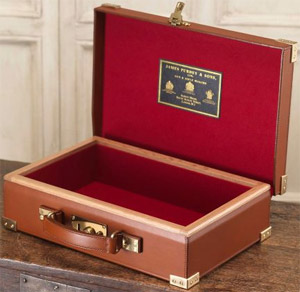 Purdey oak framed and angus hide leather day box: £4,500.