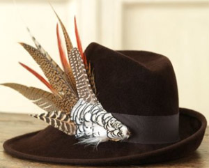Purdey Velour Sidesweep Hat With Leather Band And Feathers: £825.