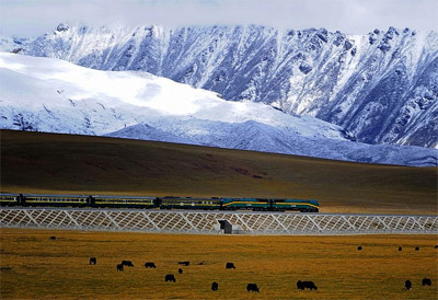 A train pulled by an NJ2 locomotive travels on the Qingzang railway in 2008.