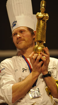 Danish chef Rasmus Kofoed with his Bocuse d'Or trophy 2011.