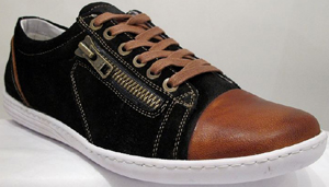 Roberto Botticelli Livenza Black Suede Men's Sneaker with Side: US$195.