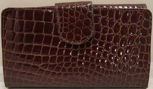 Roberto Botticelli Burgundy Color Cayman Wallet, Zipper For Coins - 18 Credit Card Holders: US$350.