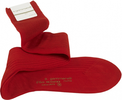 Red Gammarelli socks from Pope's tailor since 1798.