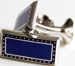 Richard Anderson Cuff Link Rectangle Blue: £95.