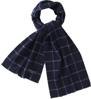 Roderick Charles Navy/Blue Check Scarf: £29.