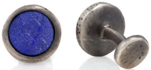 Robin Rotenier Hammered Circle Sterling Silver Lapis Cufflinks: US$595.