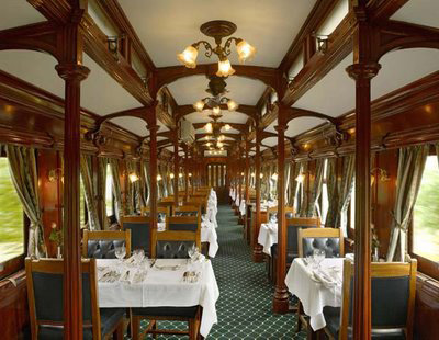 The dining car of Rovos Rail.