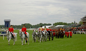 The Royal carriages leave after carrying The Queen to the races at Royal Ascot.