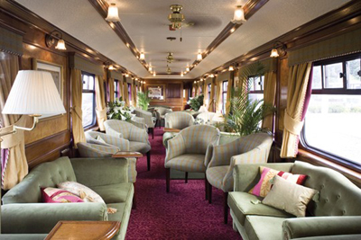 The lounge car of The Royal Scotsman.
