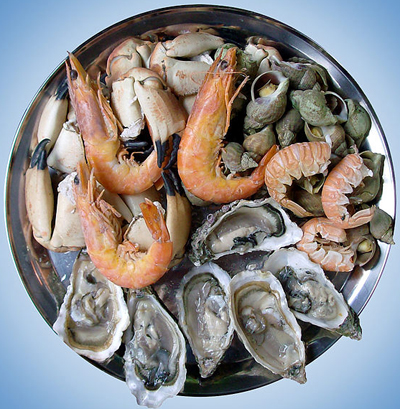 Plate of seafood.