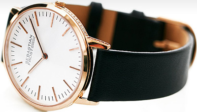 Sebastian Frost Rosegold plated stainless steel petite/lady diamond edition watch.