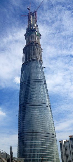 The Shanghai Tower under construction on August 3, 2013, No. 51 Lujiazui Road W., Pudong district of Shanghai, China.