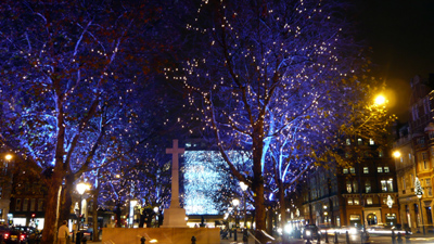 Christmas lights in Sloane Square.