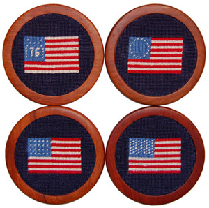 Smathers & Branson American Flag Needlepoint Coaster Set: US$75.