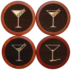 Smathers & Branson Martini Needlepoint Coaster Set: US$75.