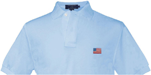 Smathers & Branson American Flag Light Blue Needlepoint Polo Shirt: US$78.50.