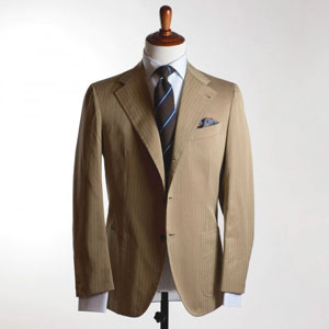 Tan single-breasted solaro cotton suit, 9/10 oz Caccioppoli cloth from bespoke Naples tailor Formosa.