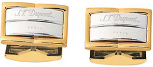S.T. Dupont Godron Yellow Gold and Palladium Cufflinks.