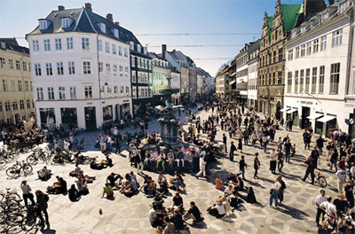 Strøget is a carfree zone in Copenhagen, Denmark. This popular tourist attraction in the centre of town is the longest pedestrian shopping area in Europe.