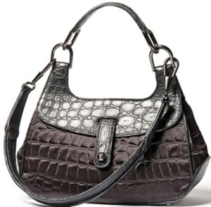 A.Testoni women's black side crocodile and black printed crocodile fabric handbag.
