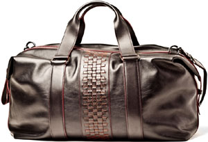 A.Testoni men's black and red pomegranate two-tone calf boston bag with woven details.