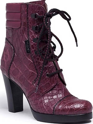 A.Testoni Aubergine side crocodile ankle boot with black vintage kid details.