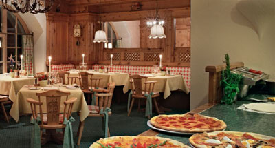 Restaurant The Pizzaria at Kulm Hotel.