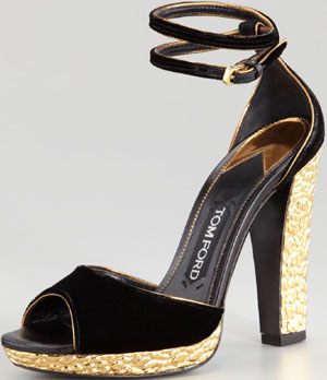 Tom Ford Velvet Crisscross Ankle-Wrap Sandal: US$2,950.