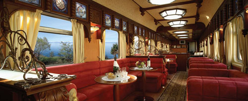 The gold lounge car of the Trans-Siberian Railway.