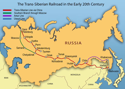 Trans-Siberian Railway Express' routes.