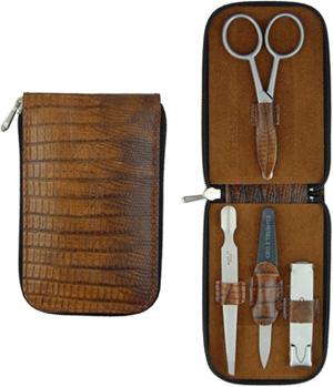 Geo F. Trumper 4 Piece Manicure Set, Brown calf leather (lizard skin embossed): £120.
