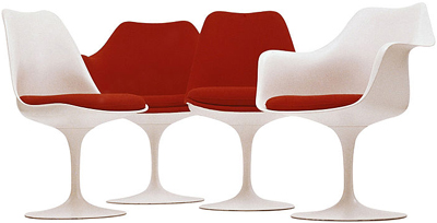 The Tulip chair was designed by Eero Saarinen in 1955 and 1956 for the Knoll company of New York City.