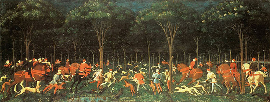 The Hunt in the Forest (c. 1470) by Paolo Uccello.
