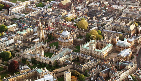 Birdseye view of University of Oxford and its colleges, Oxford, Oxfordshire, England.