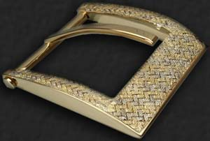Urso Mida Buckle in yellow and white. Solid gold 18kt with woven fabric made entirely by hand.