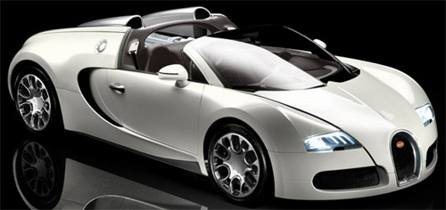 World's fastest and most expensive street car: Bugatti Veyron 16.4 Grand Sport.