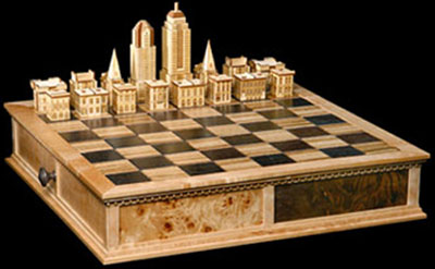 Steve Vigar New York Architecture chess set.