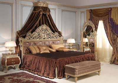 Vimercati Emperador Gold Louis XI style bedroom.